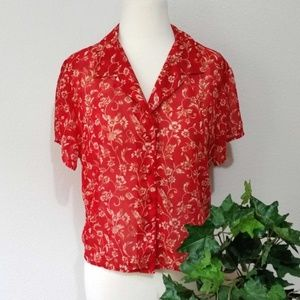 VS Floral Short Sleeve Semi-Sheer Button Up Blouse
